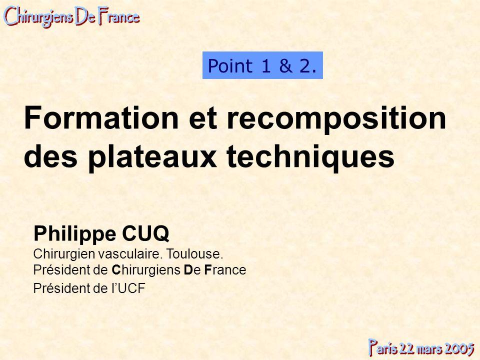 Philippe CUQ Chirurgien vasculaire. Toulouse. Président de Chirurgiens De France Président de lUCF Point 1 & 2. Formation et recomposition des plateau