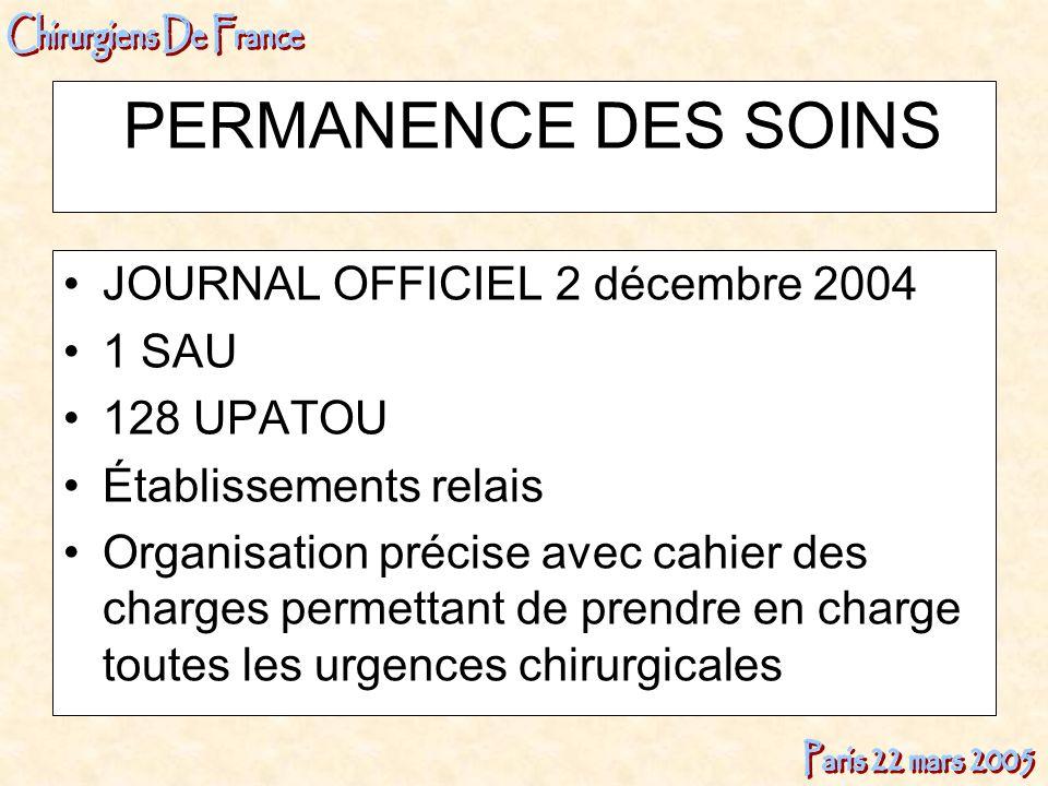 PERMANENCE DES SOINS JOURNAL OFFICIEL 2 décembre 2004 1 SAU 128 UPATOU Établissements relais Organisation précise avec cahier des charges permettant d