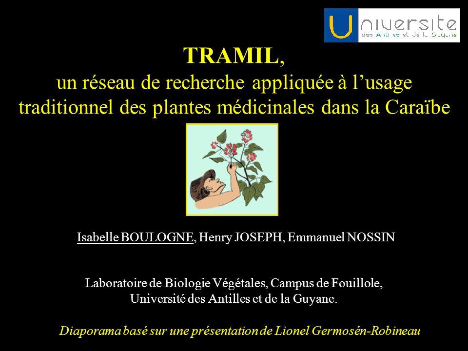 TRAMIL, un réseau de recherche appliquée à lusage traditionnel des plantes médicinales dans la Caraïbe Laboratoire de Biologie Végétales, Campus de Fo