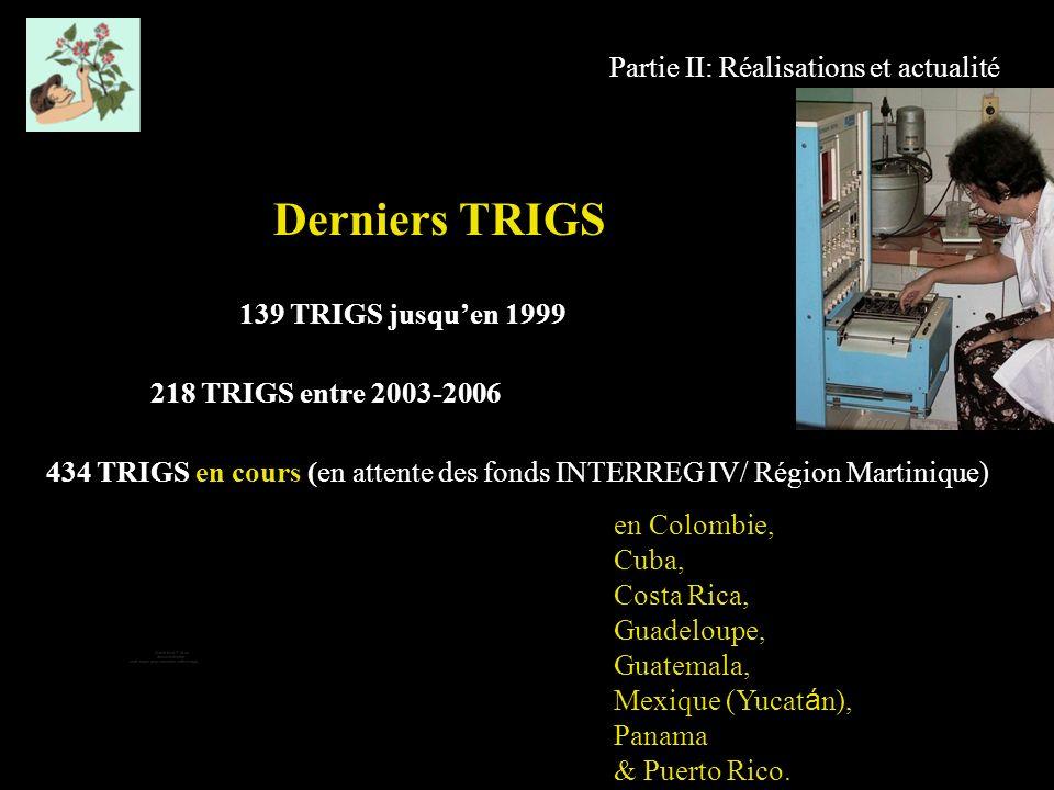 Partie II: Réalisations et actualité Derniers TRIGS 139 TRIGS jusquen 1999 218 TRIGS entre 2003-2006 434 TRIGS en cours (en attente des fonds INTERREG