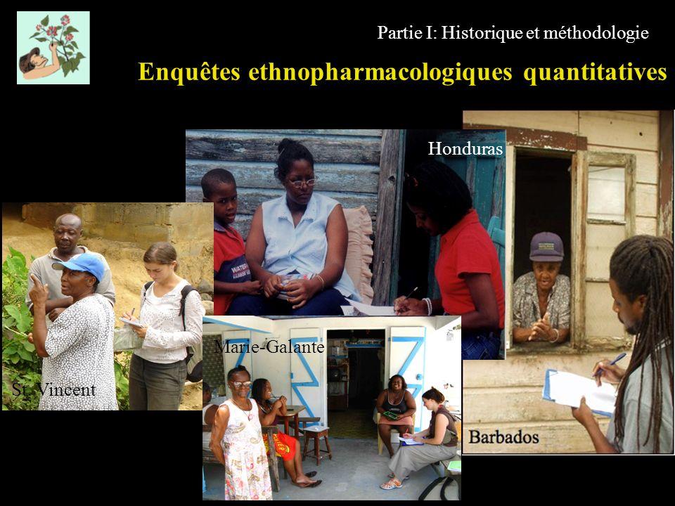 Partie I: Historique et méthodologie Enquêtes ethnopharmacologiques quantitatives Honduras St. Vincent Marie-Galante