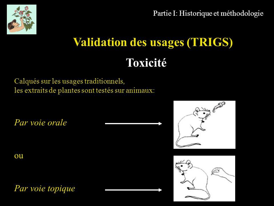Partie I: Historique et méthodologie Calqués sur les usages traditionnels, les extraits de plantes sont testés sur animaux: Par voie orale ou Par voie