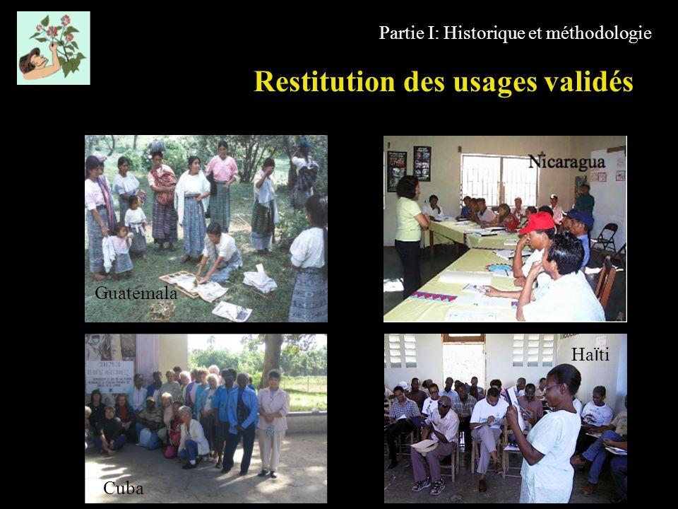 Restitution des usages validés Partie I: Historique et méthodologie Cuba Ha ï ti Guatemala
