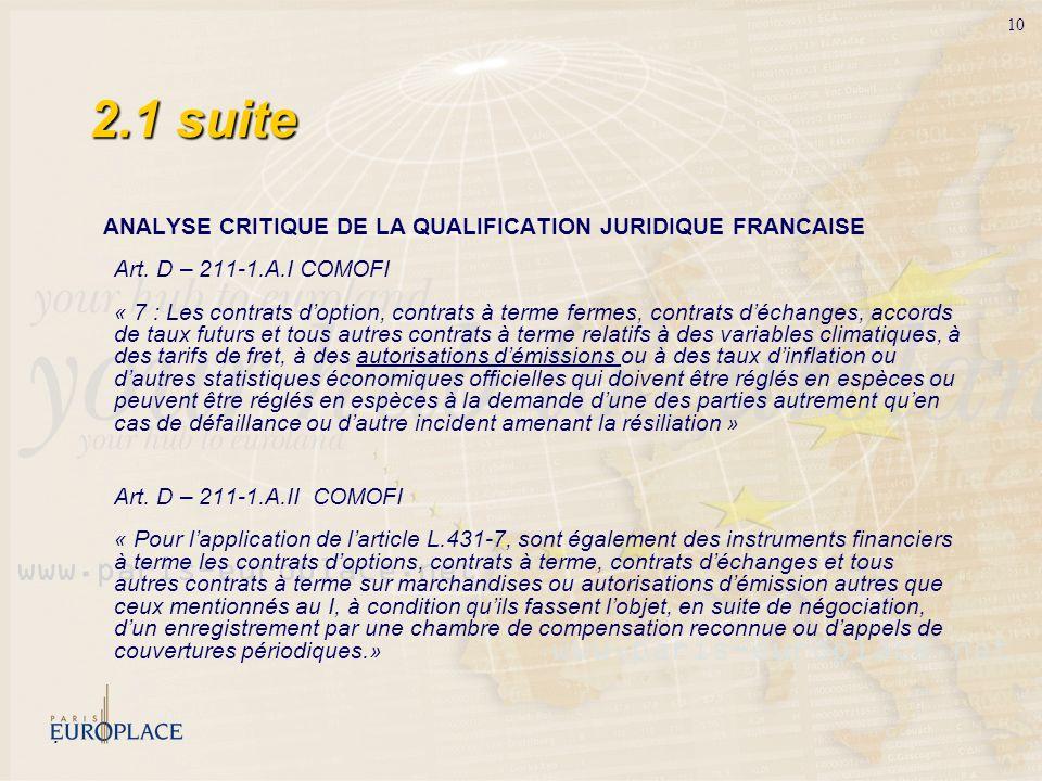 10 ANALYSE CRITIQUE DE LA QUALIFICATION JURIDIQUE FRANCAISE Art. D – 211-1.A.I COMOFI « 7 : Les contrats doption, contrats à terme fermes, contrats dé