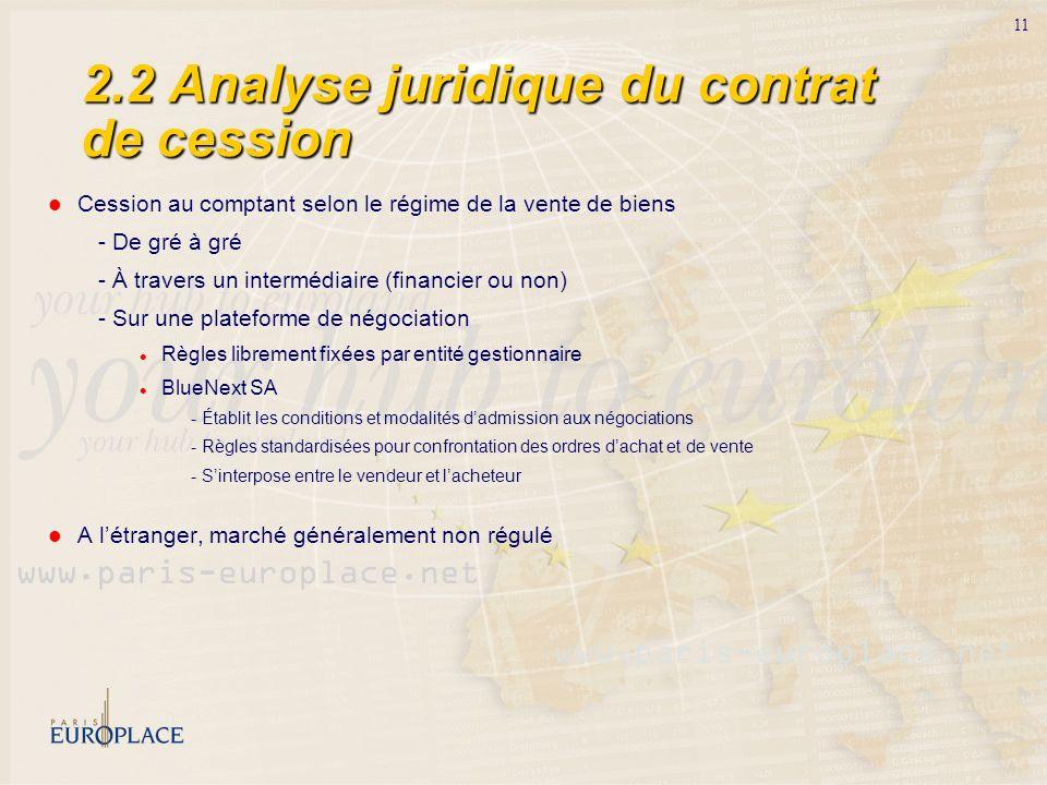 11 2.2 Analyse juridique du contrat de cession Cession au comptant selon le régime de la vente de biens - De gré à gré - À travers un intermédiaire (f