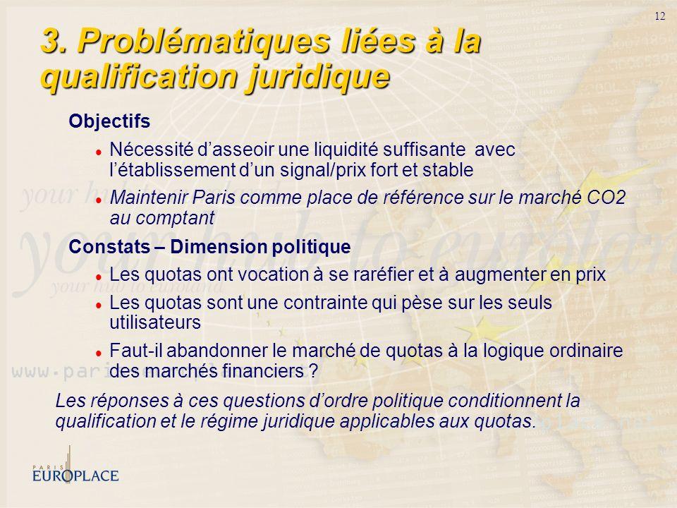 12 3. Problématiques liées à la qualification juridique Objectifs Nécessité dasseoir une liquidité suffisante avec létablissement dun signal/prix fort