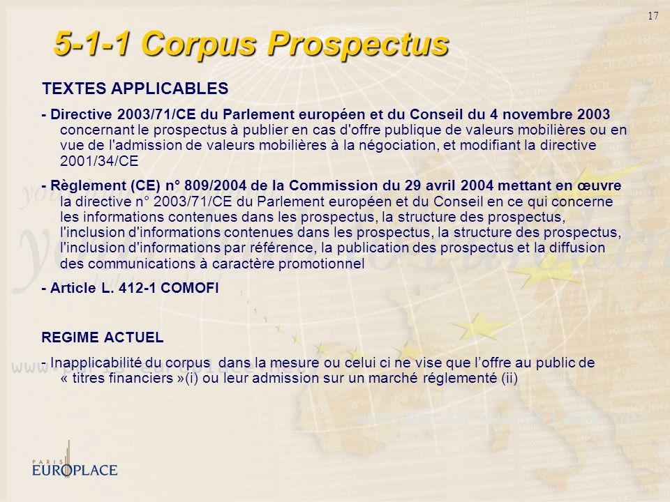 17 5-1-1 Corpus Prospectus TEXTES APPLICABLES - Directive 2003/71/CE du Parlement européen et du Conseil du 4 novembre 2003 concernant le prospectus à