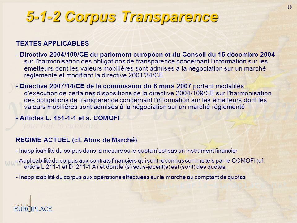 18 5-1-2 Corpus Transparence TEXTES APPLICABLES - Directive 2004/109/CE du parlement européen et du Conseil du 15 décembre 2004 sur l'harmonisation de