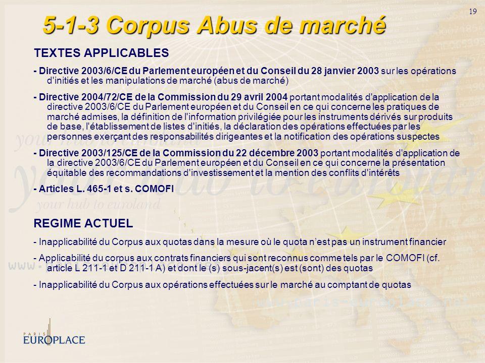 19 5-1-3 Corpus Abus de marché TEXTES APPLICABLES - Directive 2003/6/CE du Parlement européen et du Conseil du 28 janvier 2003 sur les opérations d'in