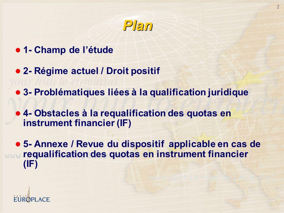 2 Plan 1- Champ de létude 2- Régime actuel / Droit positif 3- Problématiques liées à la qualification juridique 4- Obstacles à la requalification des