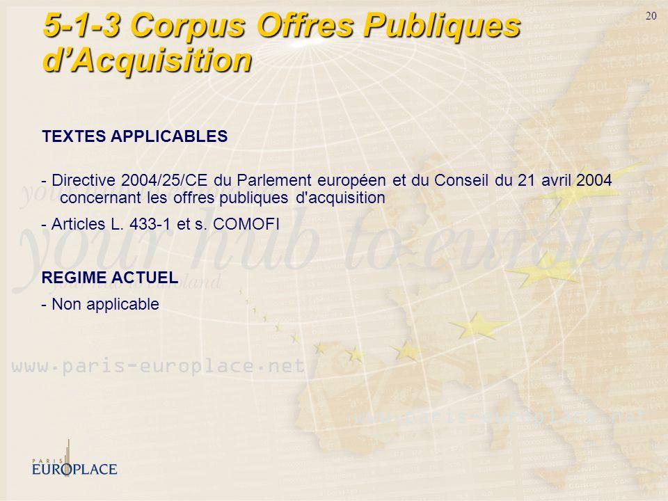 20 5-1-3 Corpus Offres Publiques dAcquisition TEXTES APPLICABLES - Directive 2004/25/CE du Parlement européen et du Conseil du 21 avril 2004 concernan