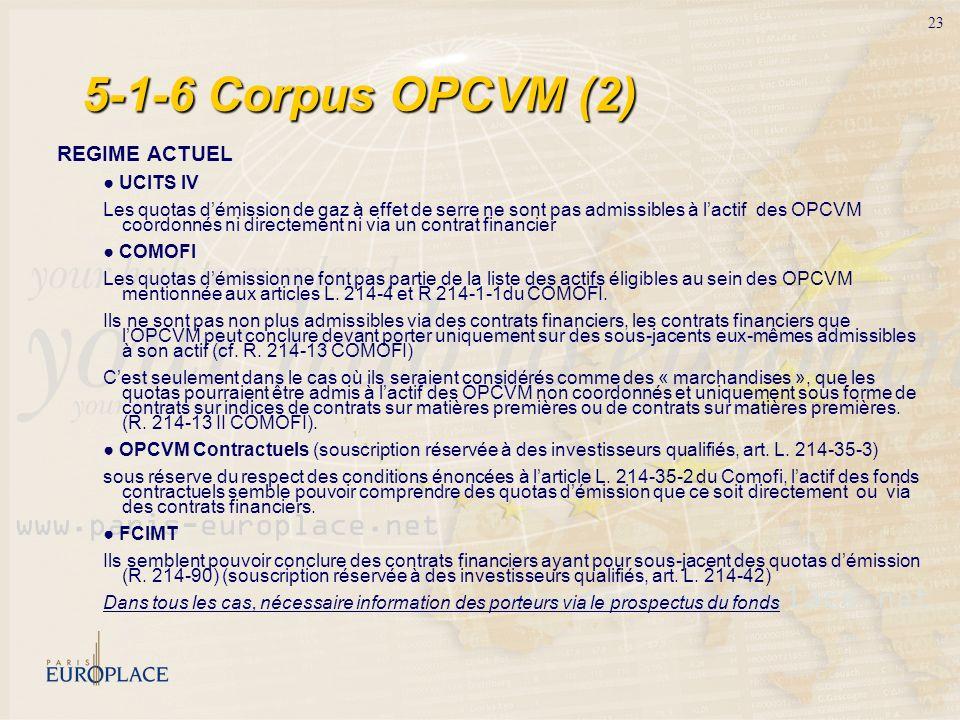 23 5-1-6 Corpus OPCVM (2) REGIME ACTUEL UCITS IV Les quotas démission de gaz à effet de serre ne sont pas admissibles à lactif des OPCVM coordonnés ni