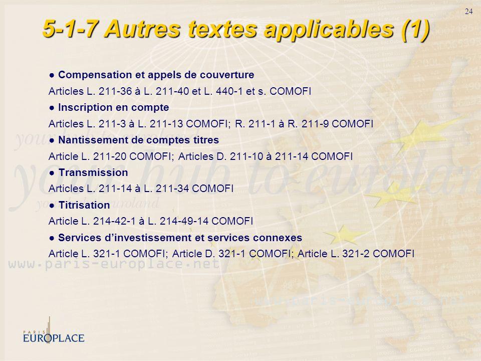 24 5-1-7 Autres textes applicables (1) Compensation et appels de couverture Articles L. 211-36 à L. 211-40 et L. 440-1 et s. COMOFI Inscription en com