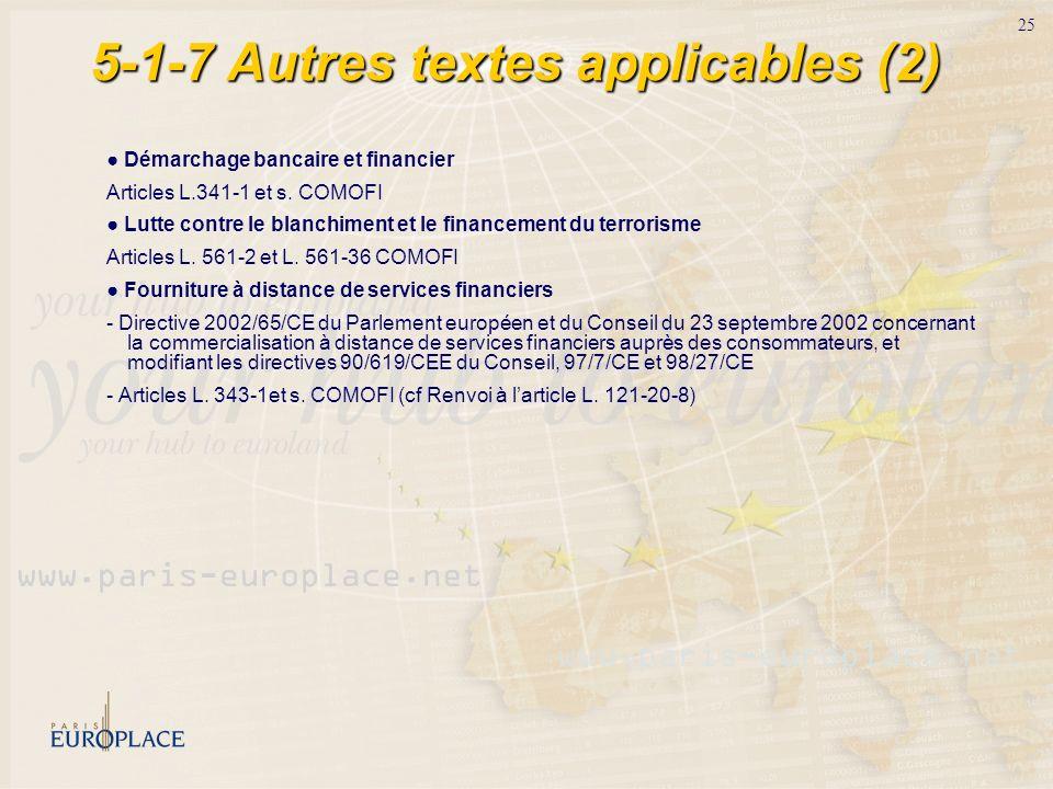 25 5-1-7 Autres textes applicables (2) Démarchage bancaire et financier Articles L.341-1 et s. COMOFI Lutte contre le blanchiment et le financement du