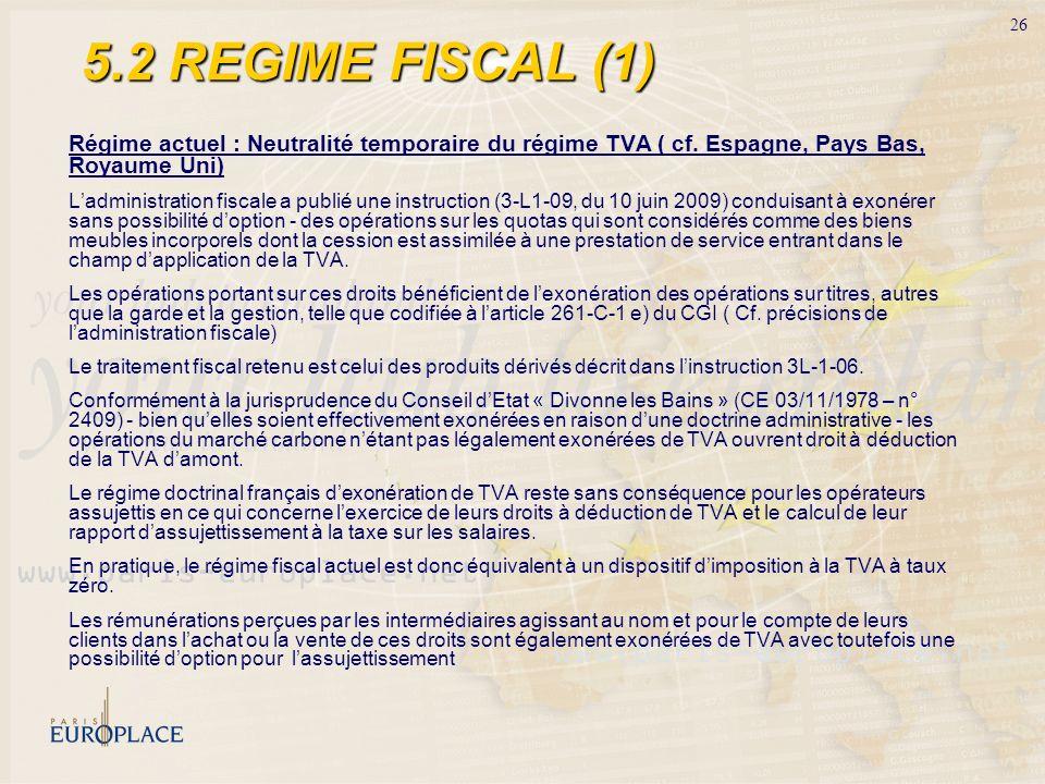 26 5.2 REGIME FISCAL (1) Régime actuel : Neutralité temporaire du régime TVA ( cf. Espagne, Pays Bas, Royaume Uni) Ladministration fiscale a publié un