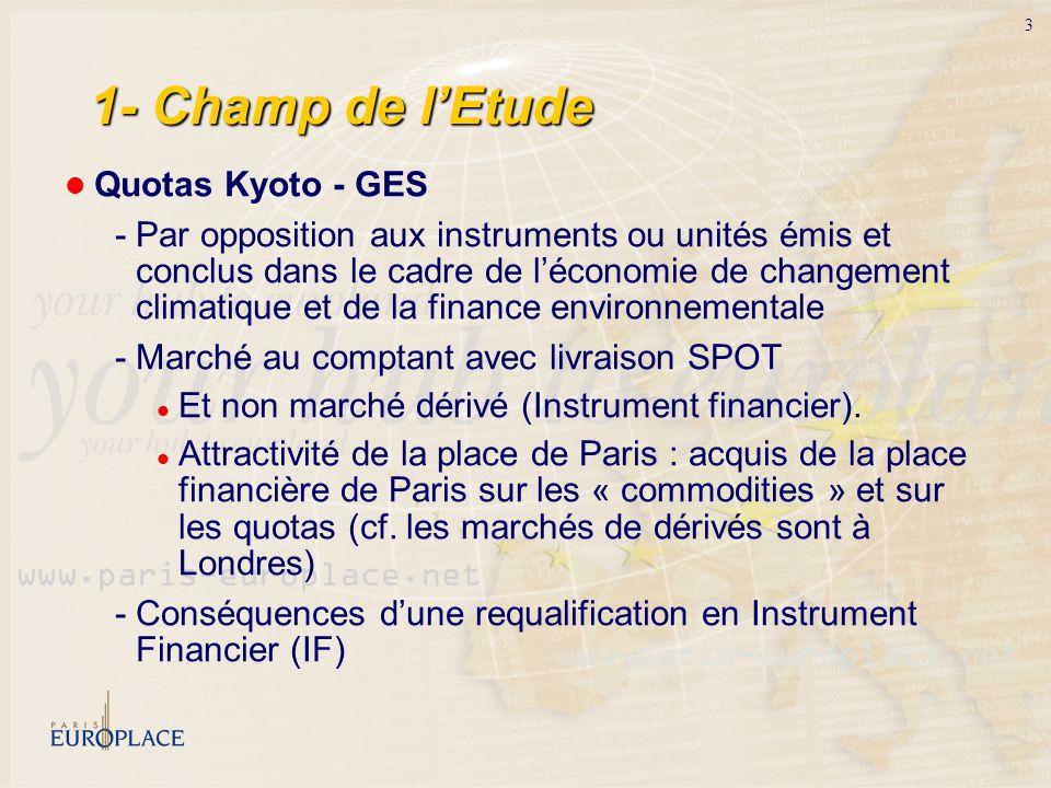 3 1- Champ de lEtude Quotas Kyoto - GES - Par opposition aux instruments ou unités émis et conclus dans le cadre de léconomie de changement climatique