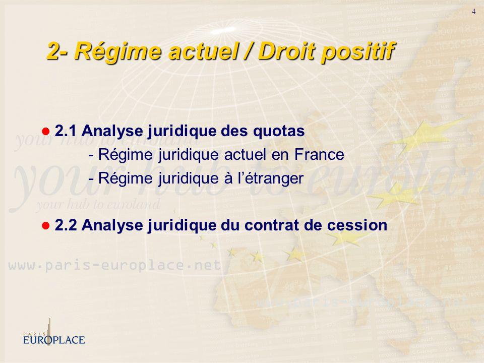 4 2- Régime actuel / Droit positif 2.1 Analyse juridique des quotas - Régime juridique actuel en France - Régime juridique à létranger 2.2 Analyse jur