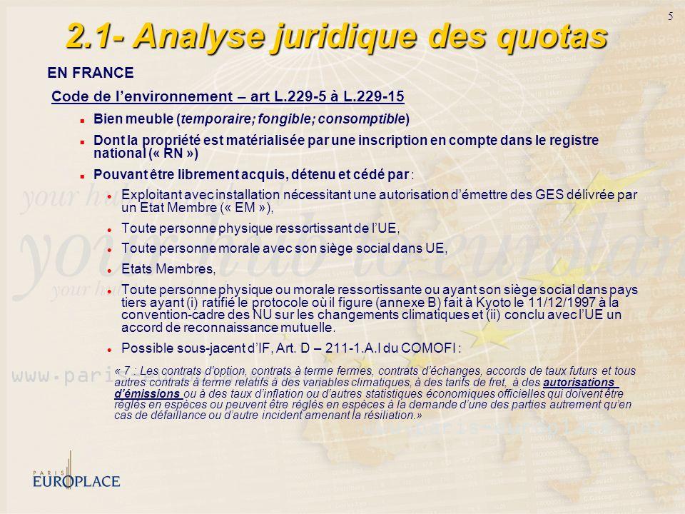 5 2.1- Analyse juridique des quotas EN FRANCE Code de lenvironnement – art L.229-5 à L.229-15 Bien meuble (temporaire; fongible; consomptible) Dont la