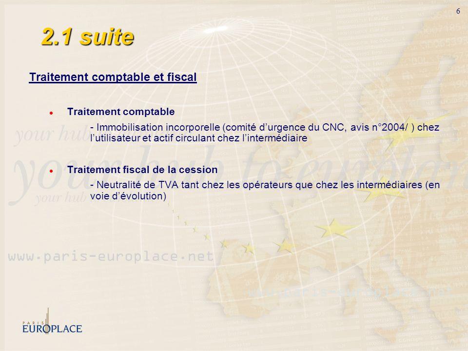 6 2.1 suite Traitement comptable et fiscal Traitement comptable - Immobilisation incorporelle (comité durgence du CNC, avis n°2004/ ) chez lutilisateu