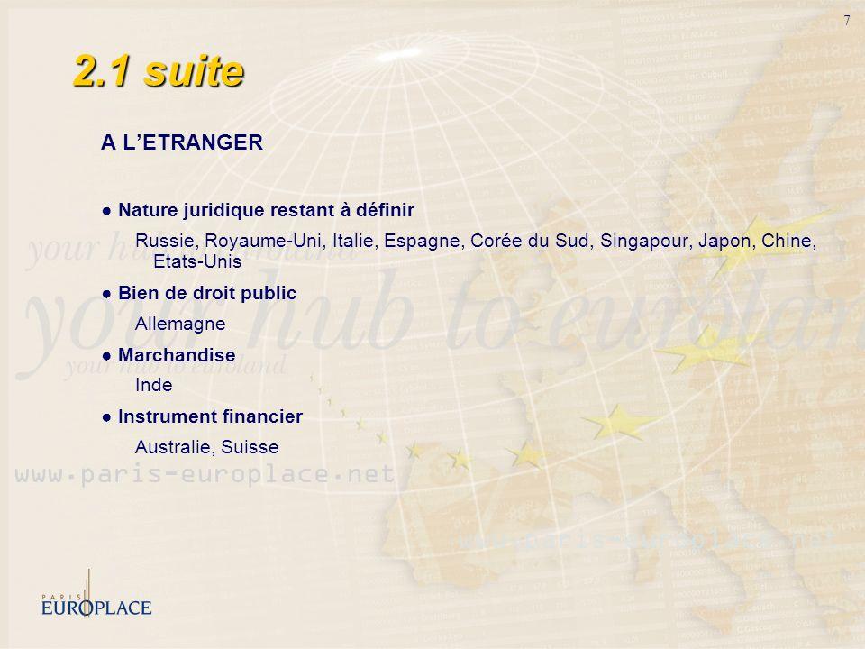 7 2.1 suite A LETRANGER Nature juridique restant à définir Russie, Royaume-Uni, Italie, Espagne, Corée du Sud, Singapour, Japon, Chine, Etats-Unis Bie