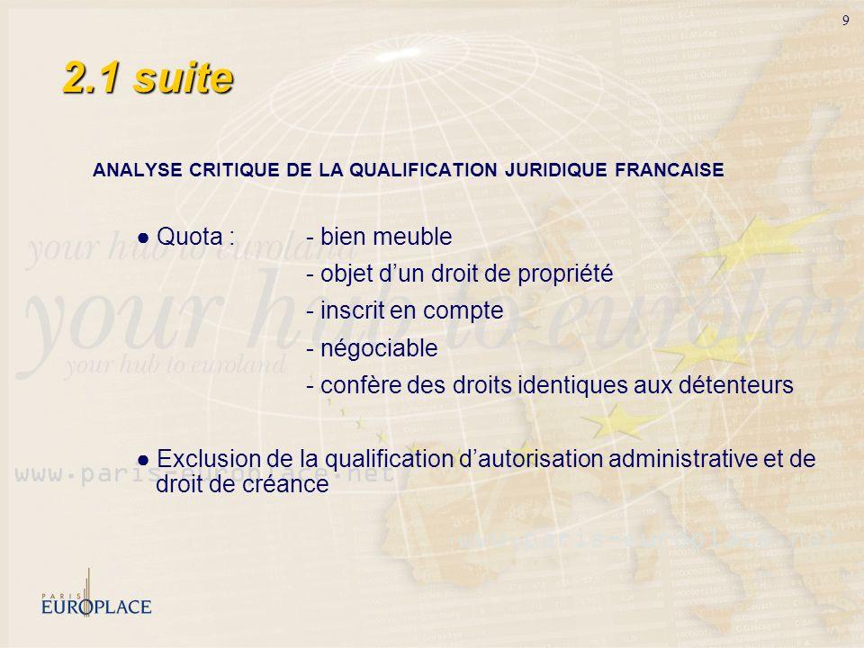 9 2.1 suite ANALYSE CRITIQUE DE LA QUALIFICATION JURIDIQUE FRANCAISE Quota : - bien meuble - objet dun droit de propriété - inscrit en compte - négoci