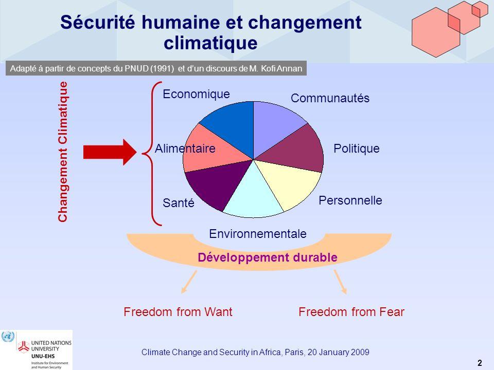 1 Climate Change and Security in Africa, Paris, 20 January 2009 Climate Change and Security in Africa Changement Climatique, Aléas Environnementaux et Sécurité Humaine Fabrice Renaud Directeur Associé UNU-EHS Bonn, Allemagne