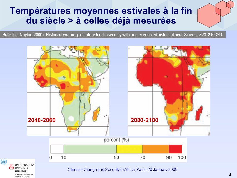 3 Climate Change and Security in Africa, Paris, 20 January 2009 Effets potentiels du changement climatique en Afrique LAfrique est le continent le plu