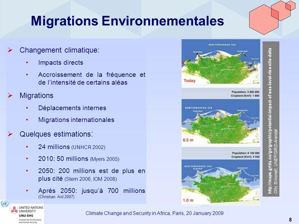 7 Climate Change and Security in Africa, Paris, 20 January 2009 Sécurité humaine, vulnérabilité et changement climatique La vulnérabilité des personne