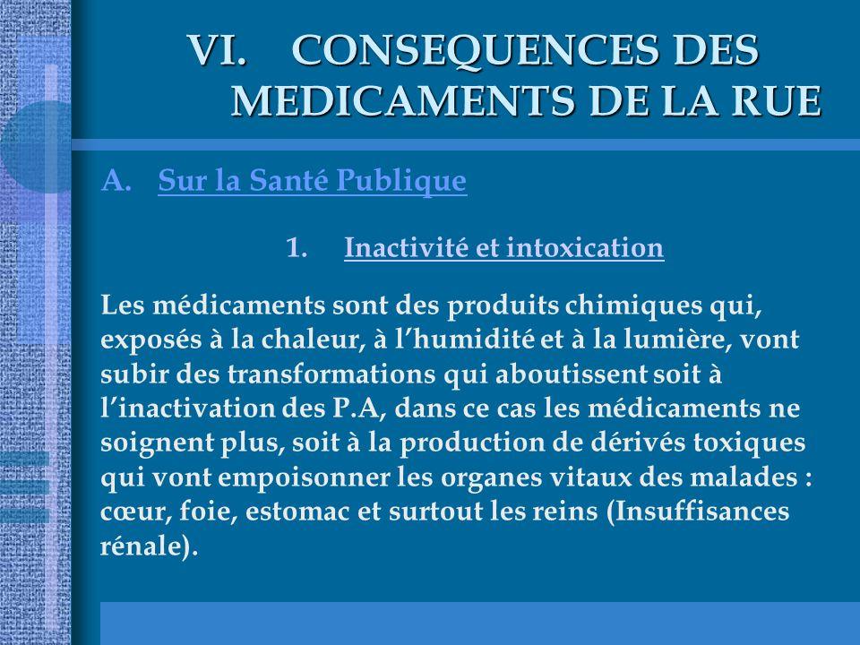 VI.CONSEQUENCES DES MEDICAMENTS DE LA RUE A.Sur la Santé Publique 1.Inactivité et intoxication Les médicaments sont des produits chimiques qui, exposé