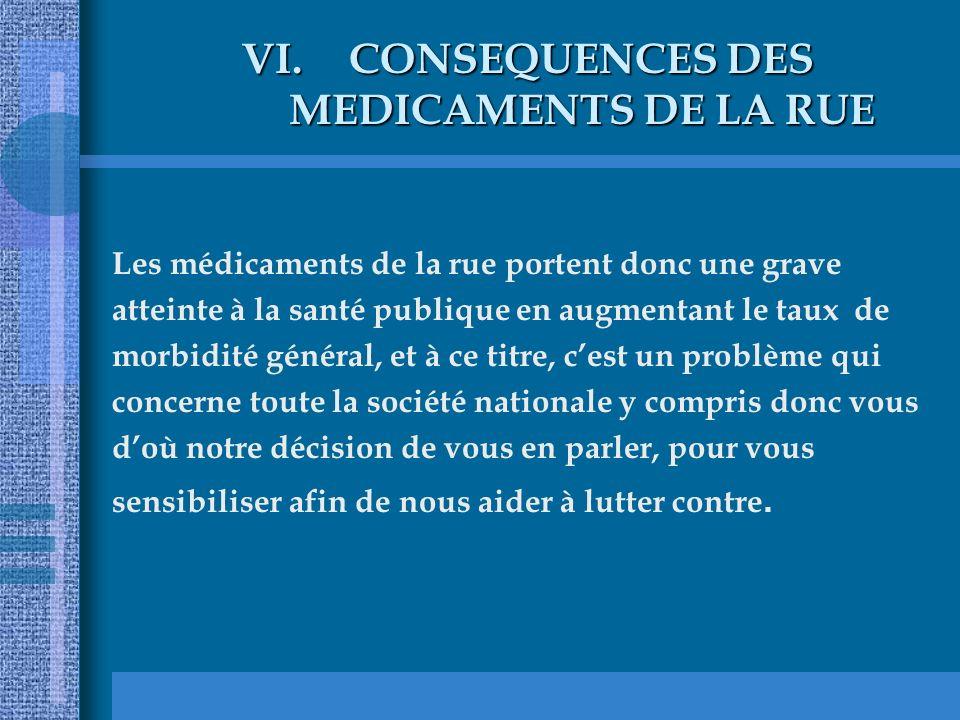VI.CONSEQUENCES DES MEDICAMENTS DE LA RUE Les médicaments de la rue portent donc une grave atteinte à la santé publique en augmentant le taux de morbi