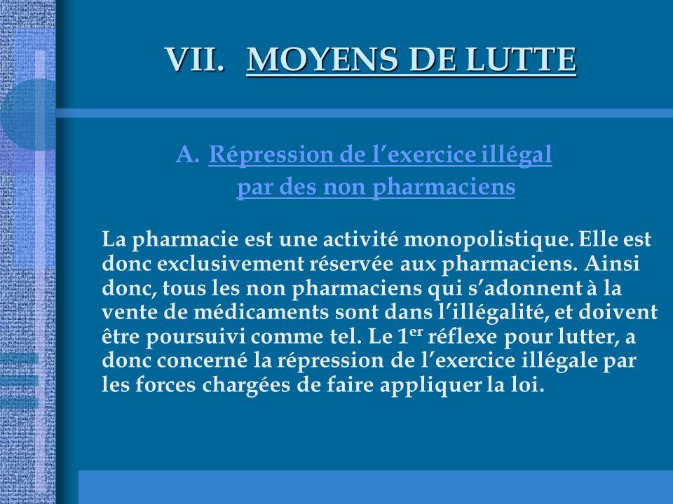 VII.MOYENS DE LUTTE A.Répression de lexercice illégal par des non pharmaciens La pharmacie est une activité monopolistique. Elle est donc exclusivemen