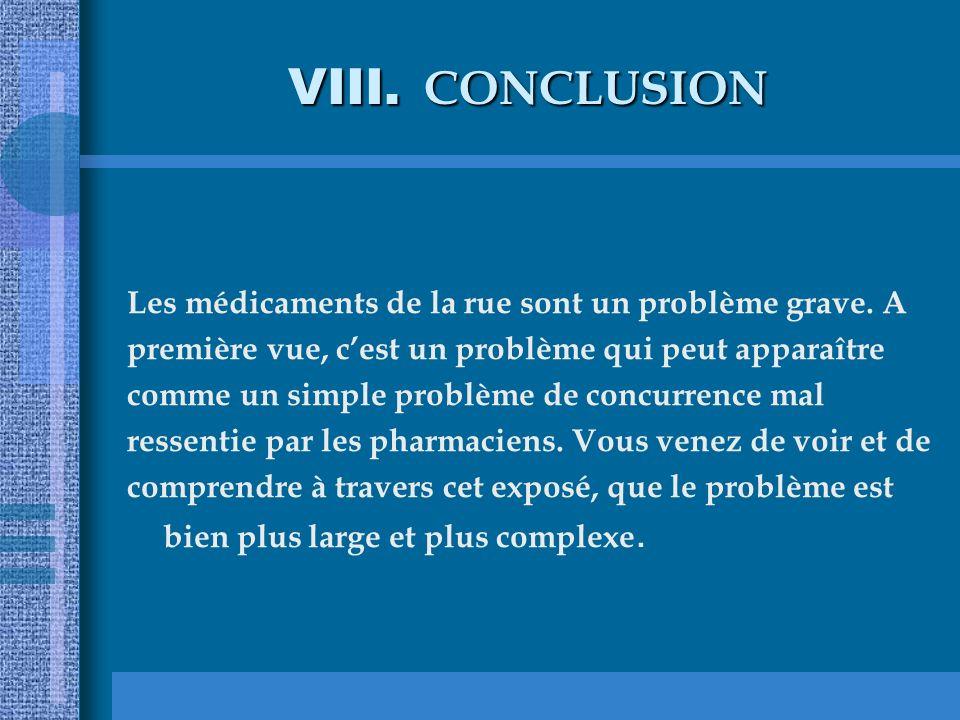 VIII. CONCLUSION Les médicaments de la rue sont un problème grave. A première vue, cest un problème qui peut apparaître comme un simple problème de co