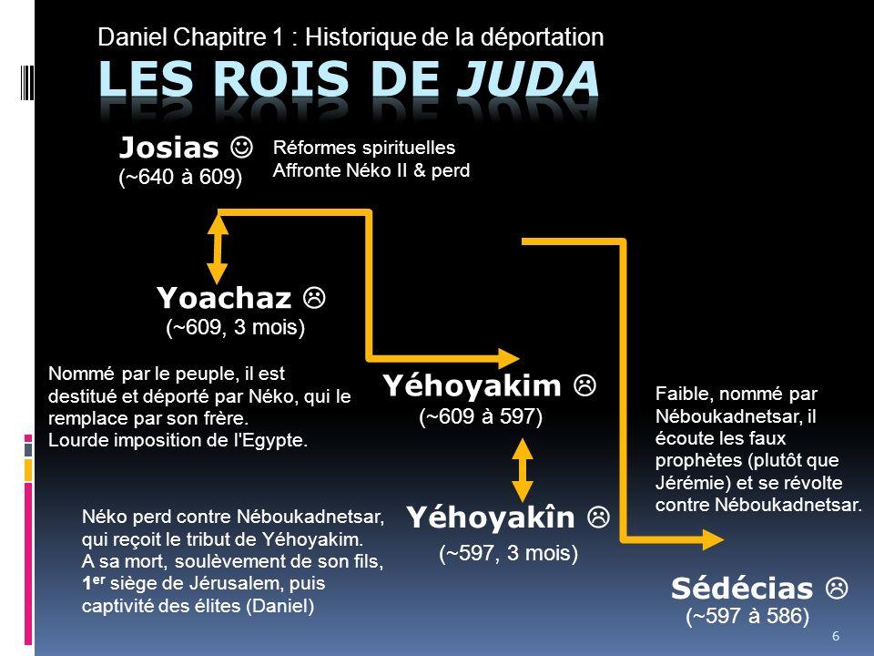 Daniel Chapitre 1 : Historique de la déportation 605 1 ère déportation Chaldéenne ZOROBABEL 586 Destruction du Temple JEREMIE EZECHIEL DANIEL 536 Retour des juifs à Jérusalem.