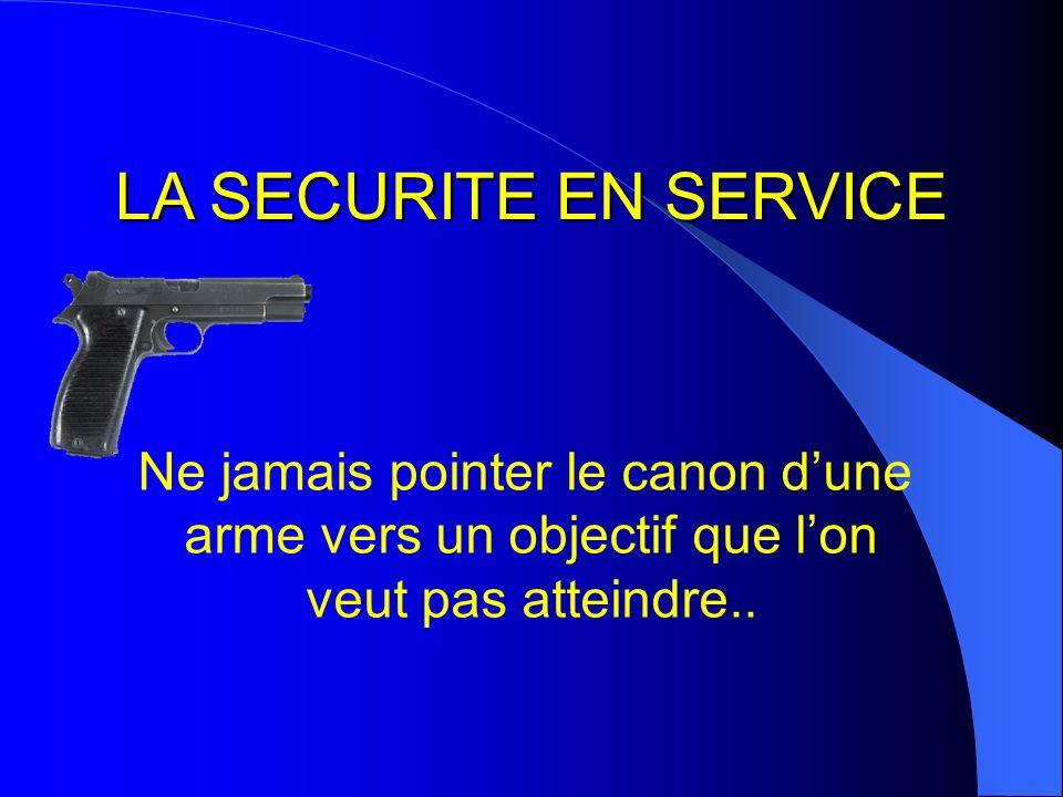 LA SECURITE EN SERVICE Ne jamais pointer le canon dune arme vers un objectif que lon veut pas atteindre..