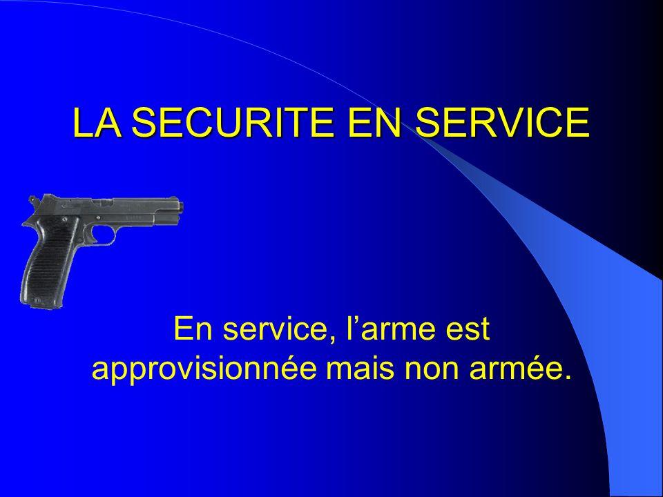 LA SECURITE EN SERVICE En service, larme est approvisionnée mais non armée.