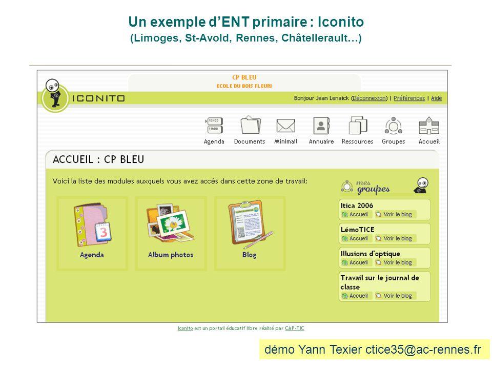 Un exemple dENT primaire : Iconito (Limoges, St-Avold, Rennes, Châtellerault…) démo Yann Texier ctice35@ac-rennes.fr
