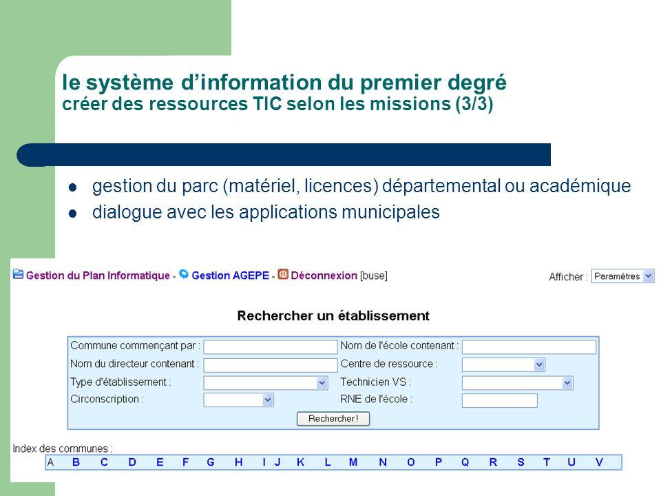 gestion du parc (matériel, licences) départemental ou académique dialogue avec les applications municipales le système dinformation du premier degré c