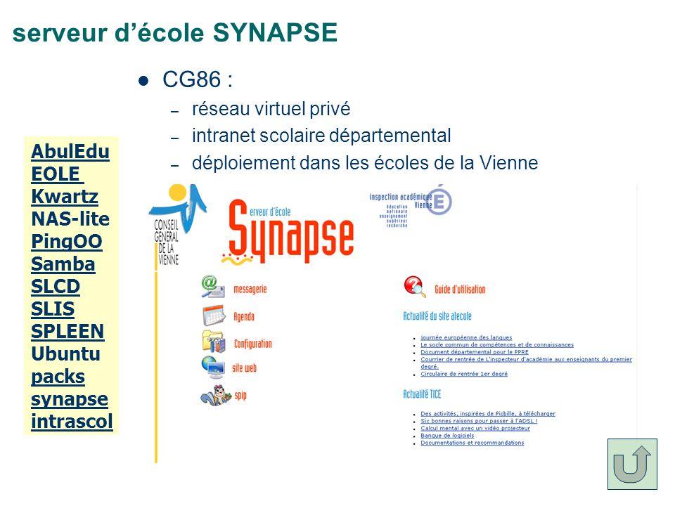 serveur décole SYNAPSE CG86 : – réseau virtuel privé – intranet scolaire départemental – déploiement dans les écoles de la Vienne AbulEdu EOLE Kwartz