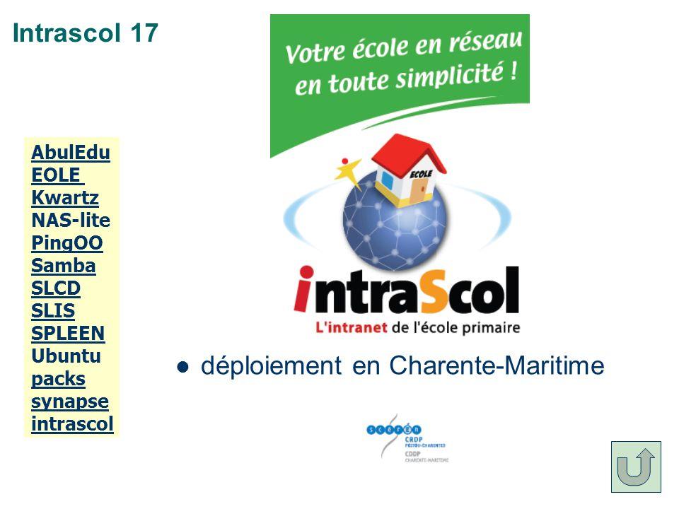 Intrascol 17 déploiement en Charente-Maritime AbulEdu EOLE Kwartz NAS-lite PingOO Samba SLCD SLIS SPLEEN Ubuntu packs synapse intrascol