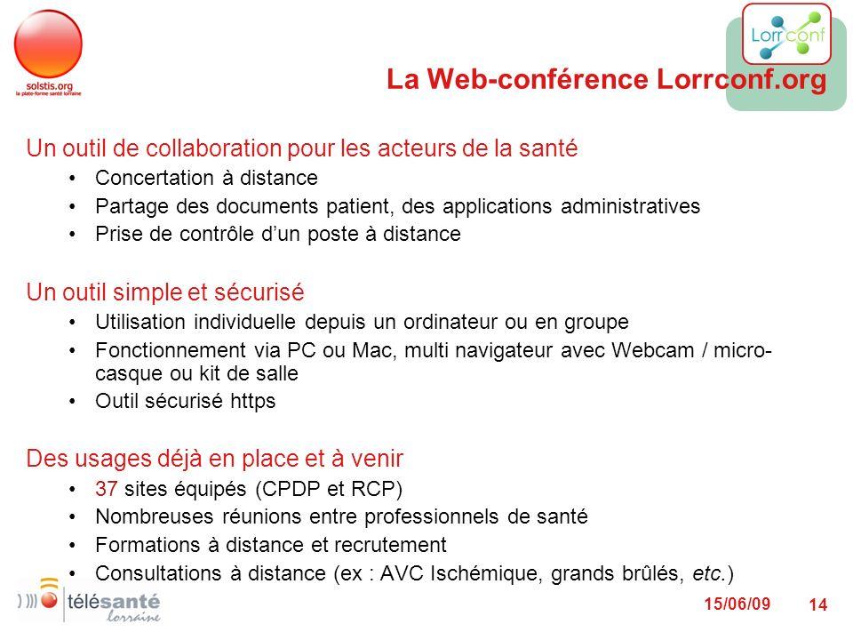 15/06/09 14 La Web-conférence Lorrconf.org Un outil de collaboration pour les acteurs de la santé Concertation à distance Partage des documents patien
