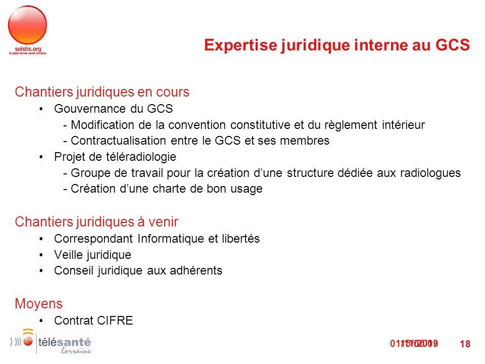 01/11/2013 18 Chantiers juridiques en cours Gouvernance du GCS - Modification de la convention constitutive et du règlement intérieur - Contractualisa