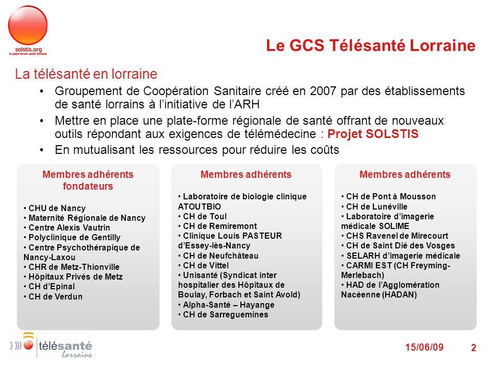 15/06/09 2 Le GCS Télésanté Lorraine La télésanté en lorraine Groupement de Coopération Sanitaire créé en 2007 par des établissements de santé lorrain