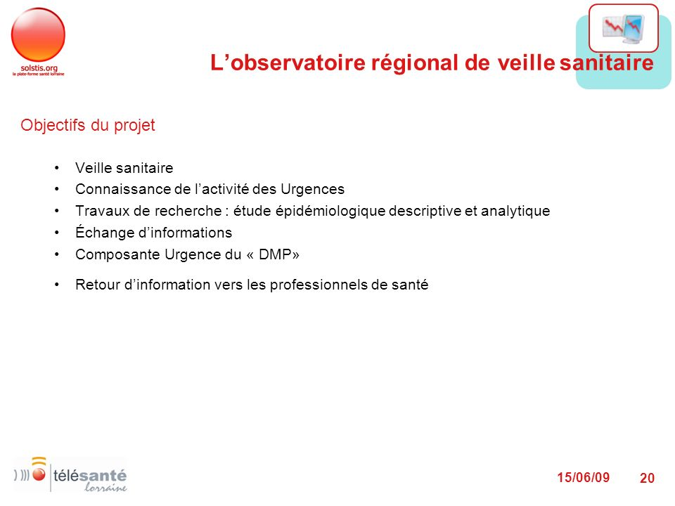 15/06/09 20 Objectifs du projet Veille sanitaire Connaissance de lactivité des Urgences Travaux de recherche : étude épidémiologique descriptive et an