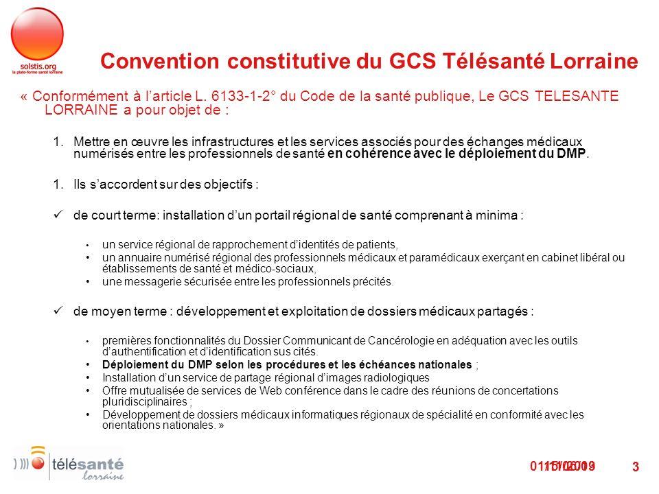 01/11/2013 3 Convention constitutive du GCS Télésanté Lorraine « Conformément à larticle L. 6133-1-2° du Code de la santé publique, Le GCS TELESANTE L