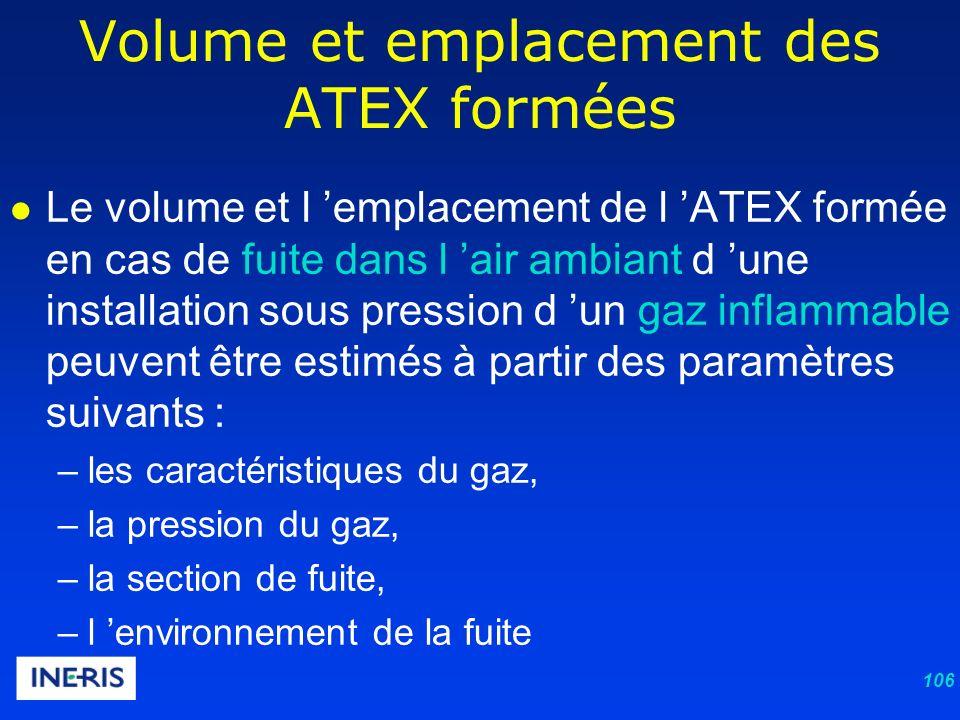 106 Le volume et l emplacement de l ATEX formée en cas de fuite dans l air ambiant d une installation sous pression d un gaz inflammable peuvent être estimés à partir des paramètres suivants : –les caractéristiques du gaz, –la pression du gaz, –la section de fuite, –l environnement de la fuite Volume et emplacement des ATEX formées