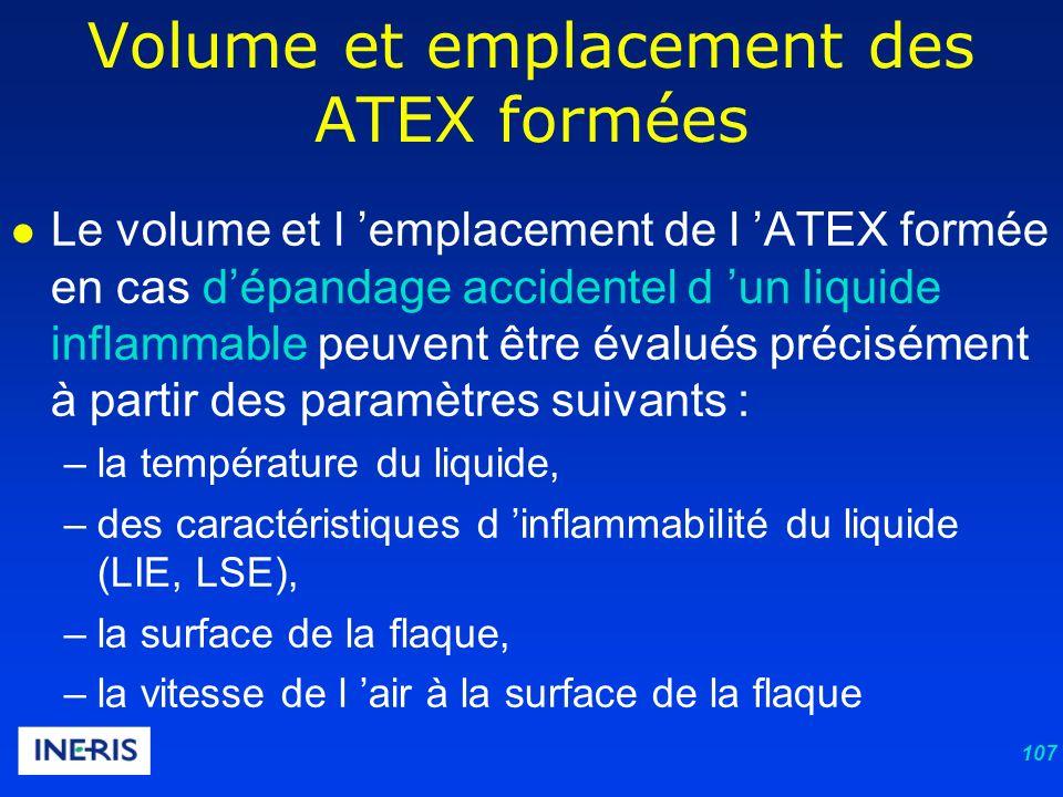 107 Le volume et l emplacement de l ATEX formée en cas dépandage accidentel d un liquide inflammable peuvent être évalués précisément à partir des paramètres suivants : –la température du liquide, –des caractéristiques d inflammabilité du liquide (LIE, LSE), –la surface de la flaque, –la vitesse de l air à la surface de la flaque Volume et emplacement des ATEX formées