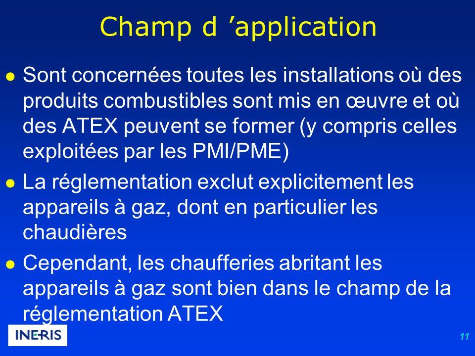 11 Champ d application Sont concernées toutes les installations où des produits combustibles sont mis en œuvre et où des ATEX peuvent se former (y compris celles exploitées par les PMI/PME) La réglementation exclut explicitement les appareils à gaz, dont en particulier les chaudières Cependant, les chaufferies abritant les appareils à gaz sont bien dans le champ de la réglementation ATEX