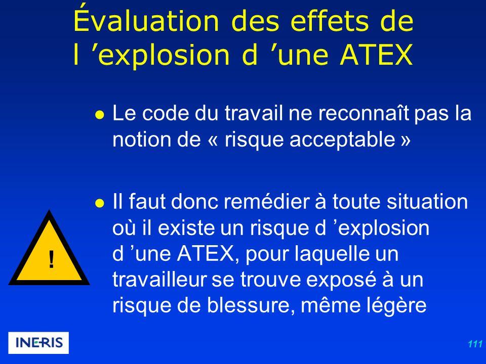 111 Le code du travail ne reconnaît pas la notion de « risque acceptable » Il faut donc remédier à toute situation où il existe un risque d explosion d une ATEX, pour laquelle un travailleur se trouve exposé à un risque de blessure, même légère Évaluation des effets de l explosion d une ATEX !