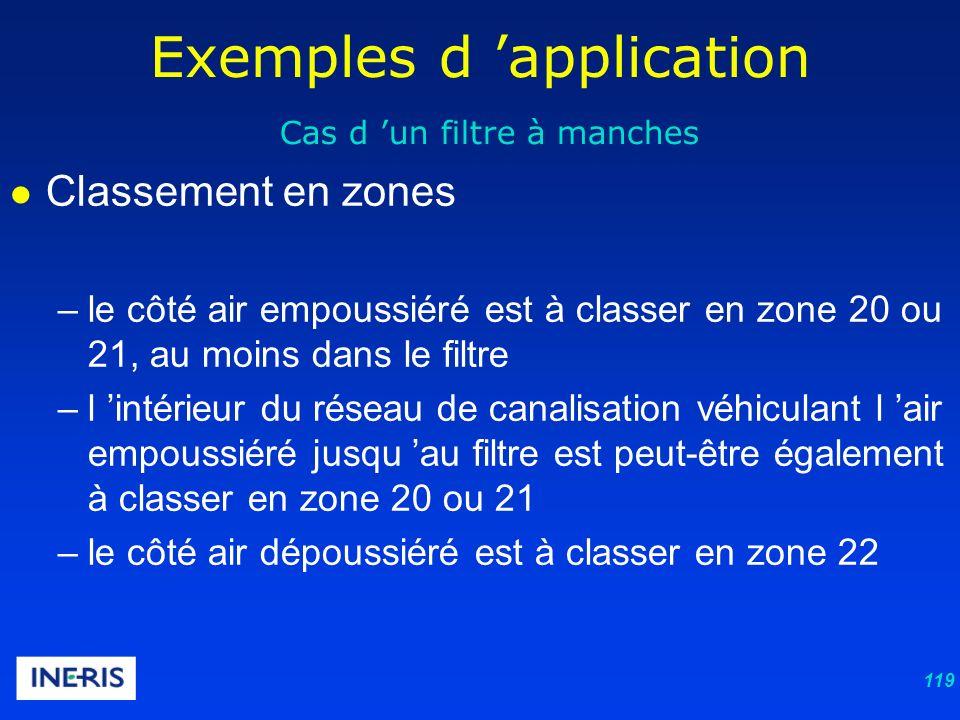 119 Exemples d application Cas d un filtre à manches Classement en zones –le côté air empoussiéré est à classer en zone 20 ou 21, au moins dans le filtre –l intérieur du réseau de canalisation véhiculant l air empoussiéré jusqu au filtre est peut-être également à classer en zone 20 ou 21 –le côté air dépoussiéré est à classer en zone 22