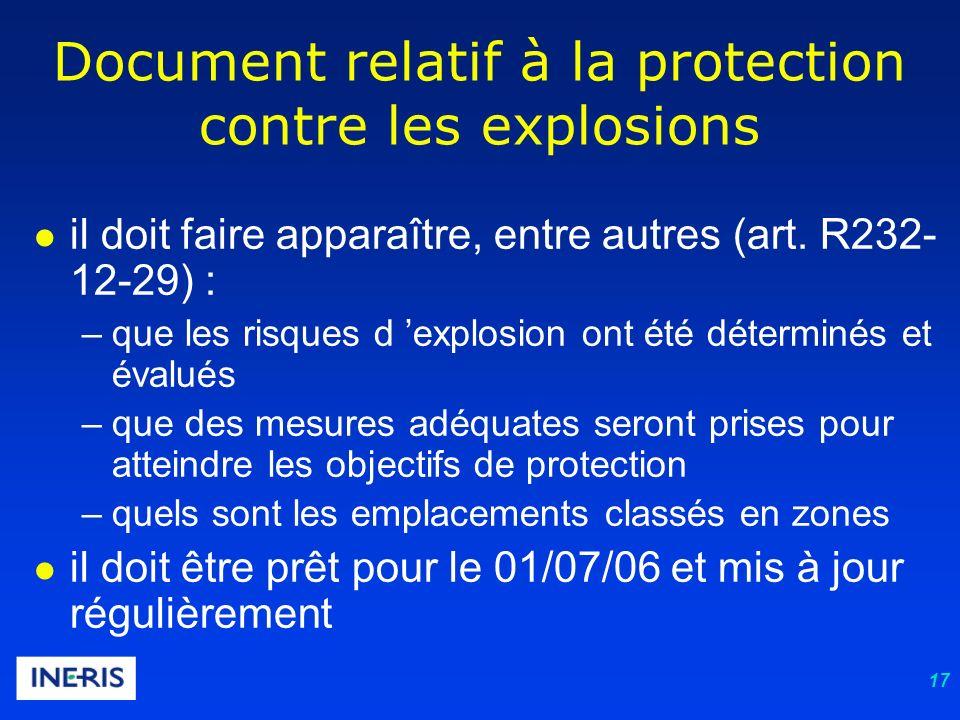 17 Document relatif à la protection contre les explosions il doit faire apparaître, entre autres (art.